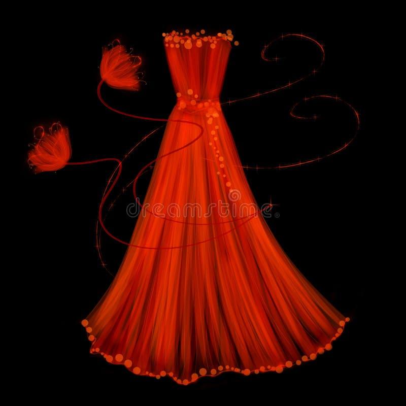 Röd klänning för afton på en svart bakgrund royaltyfri illustrationer