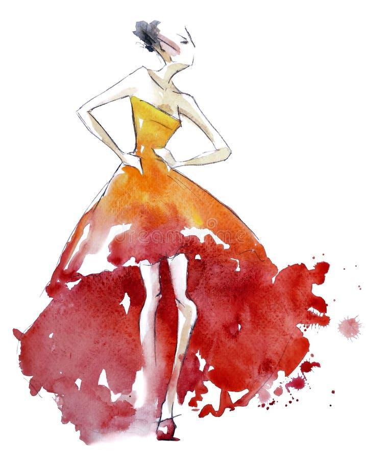 Röd klänningmodeillustration, vattenfärgmålning vektor illustrationer
