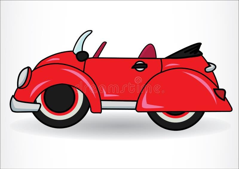 Röd klassisk Retro bil På vitbakgrund stock illustrationer