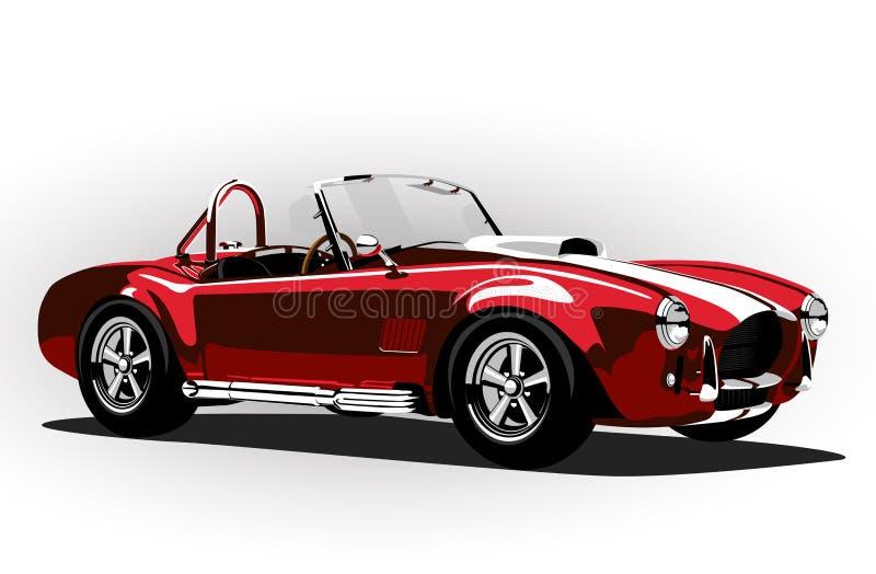 Röd klassisk roadster för kobra för sportbil stock illustrationer