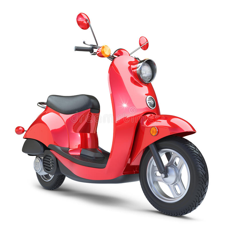 Röd klassisk sparkcykelVespa royaltyfri illustrationer