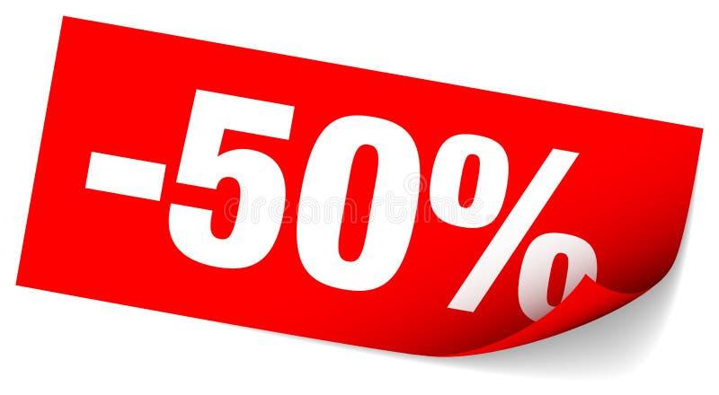 Röd klibbig anmärkning Sale negativ femtio procent stock illustrationer