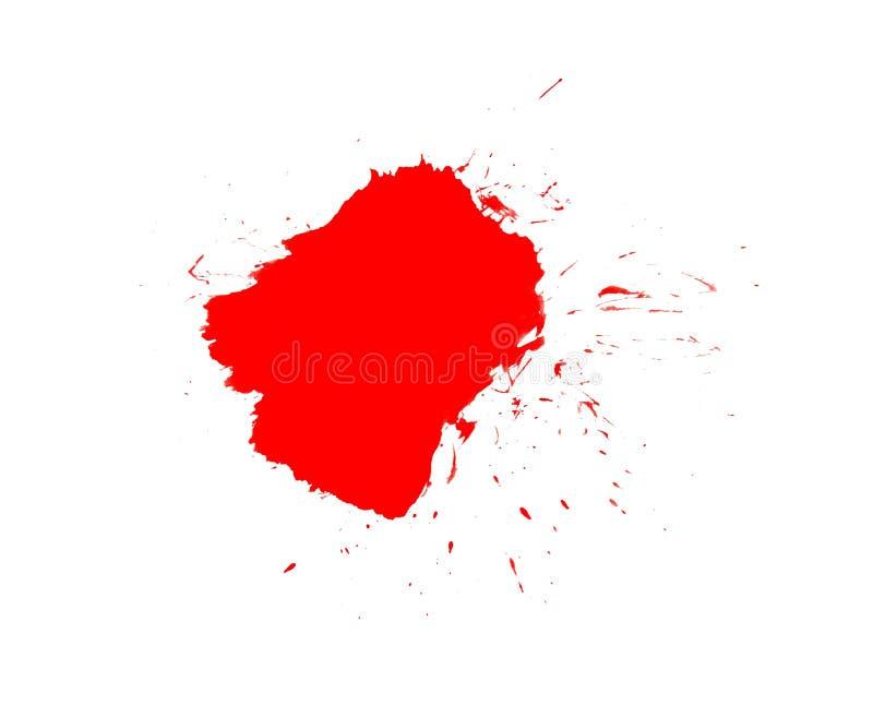 Röd klick av färgpulver eller blod stock illustrationer