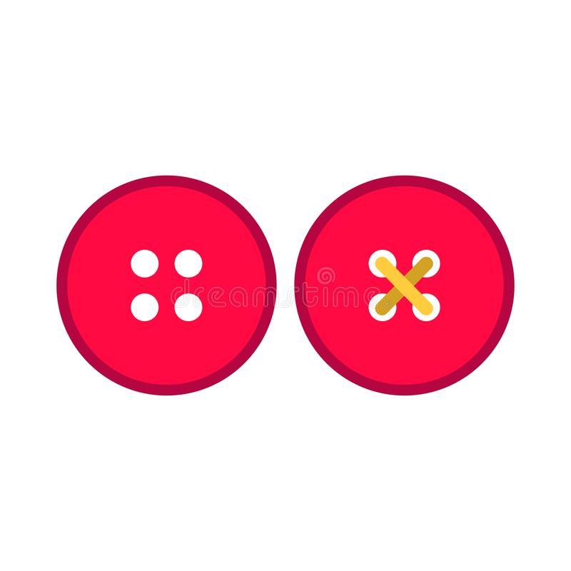 Röd knapp för klänning som beklär uppsättningen för symbol för vektor för symboltygpictogram Skräddare för hantverktillbehörsömna vektor illustrationer