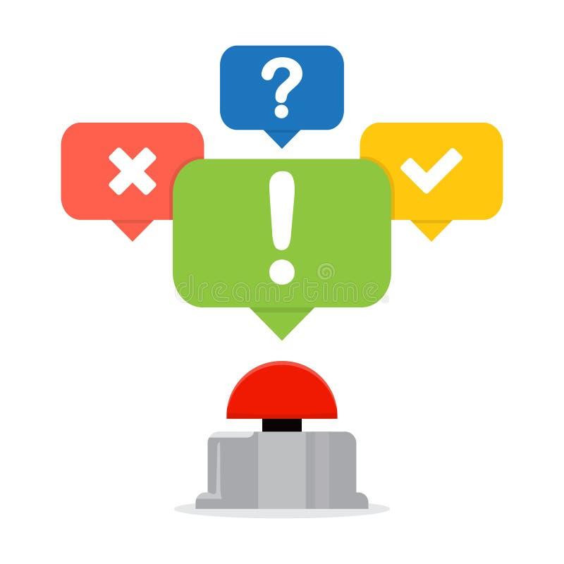 Röd knapp med anförandebubblor Frågesportbegrepp stock illustrationer