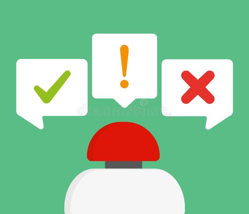Röd knapp med frågesportbegrepp stock illustrationer