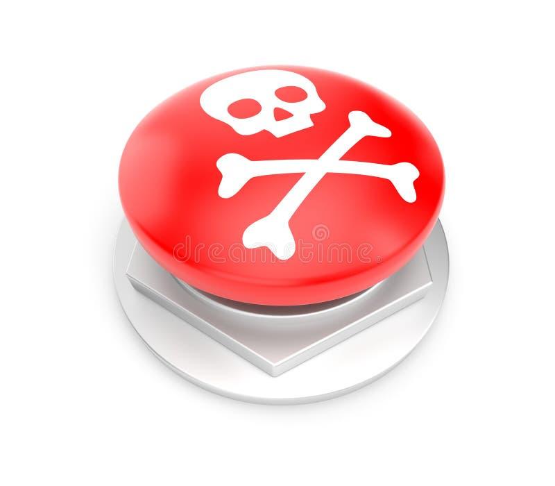 Röd knapp med skalletecknet royaltyfri illustrationer