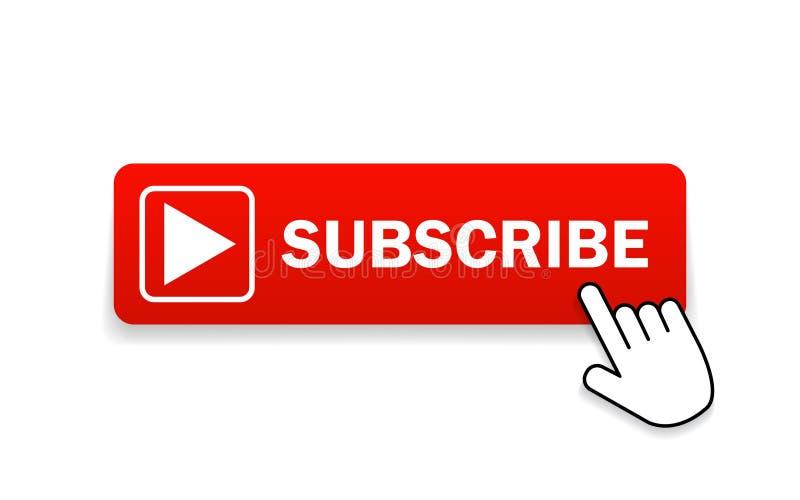 Röd knapp som abonnerar på kanal med handmarkör Knappen Abonnera i platt format Etikettprenumeration för videokanal för webbplats royaltyfri illustrationer