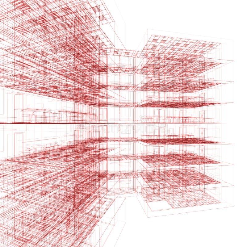 Röd kontorsbyggnad 向量例证
