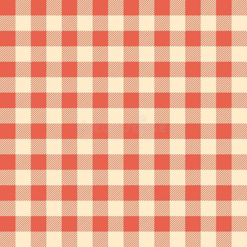 Röd kontrollerad tablecloth stock illustrationer
