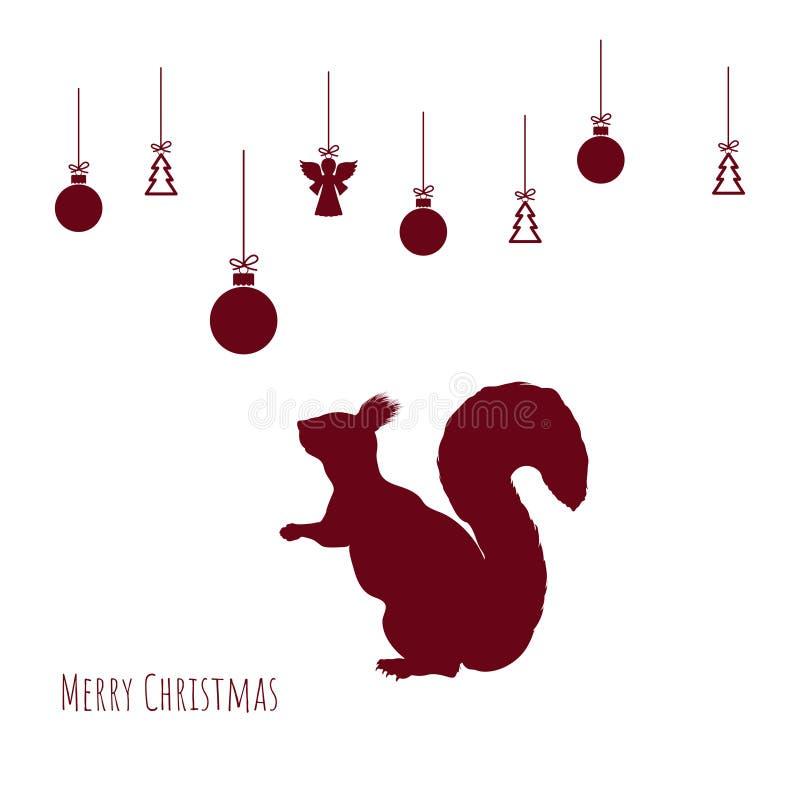 Röd kontur av ekorren med julbollar på vit bakgrund xmas för kortillustrationvektor nytt vykortår stock illustrationer