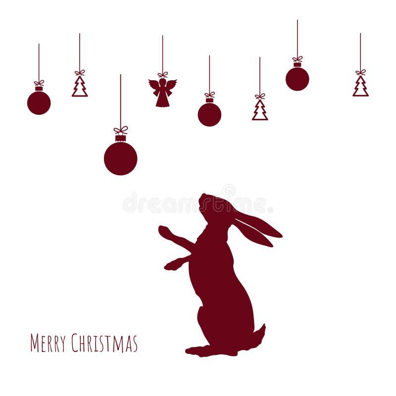 Röd kontur av haren med julbollar på vit bakgrund xmas för kortillustrationvektor nytt vykortår stock illustrationer
