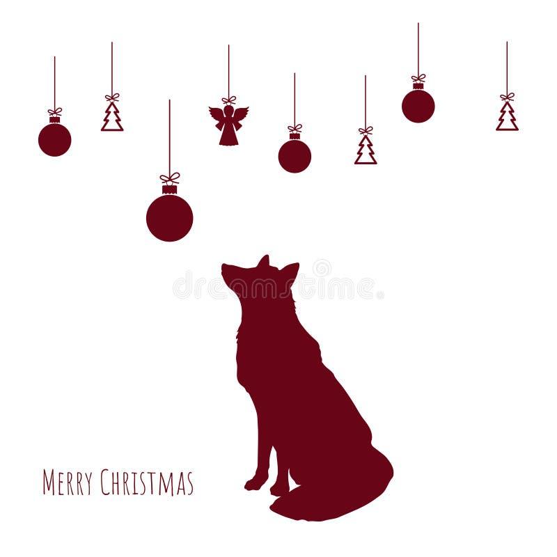 Röd kontur av räven med julbollar på vit bakgrund xmas för kortillustrationvektor nytt vykortår vektor illustrationer