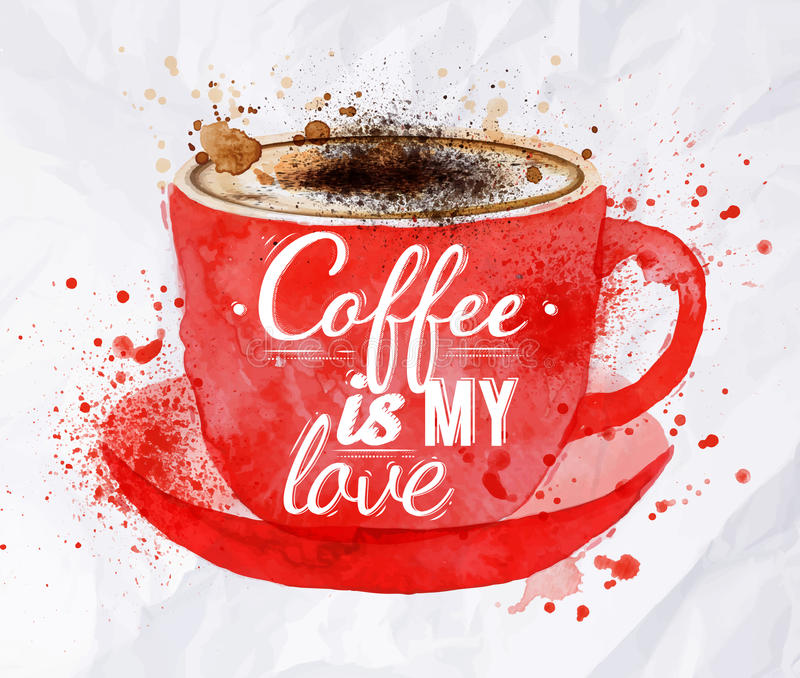 Röd kopp för vattenfärg av cappuccino stock illustrationer