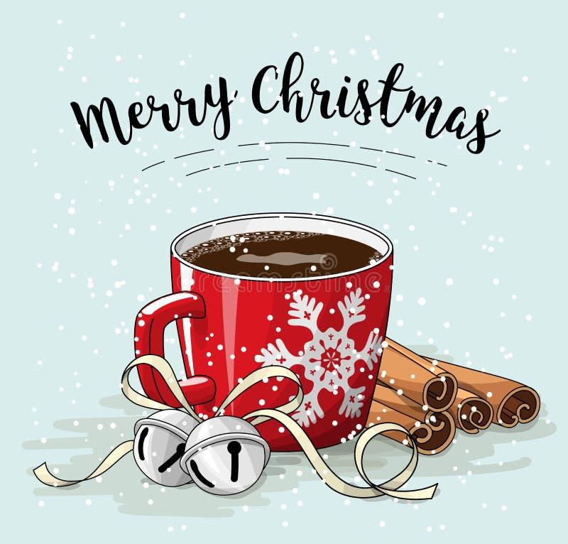 Röd kopp kaffe med kanel- och klirrklockor, julillustration royaltyfri illustrationer