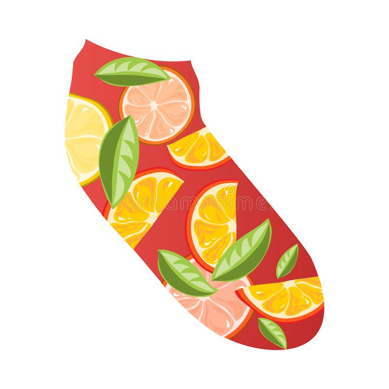 Röd kort socka för mode med stycken av citronen och grapefrukten vektor illustrationer