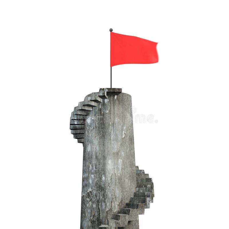 Röd krabb flagga på tornet med trappa, tolkning 3D royaltyfria foton