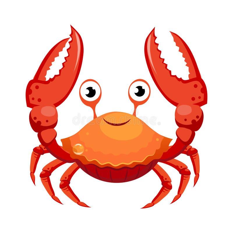 Röd krabba, havsvarelse Färgrikt tecknad filmtecken royaltyfri illustrationer