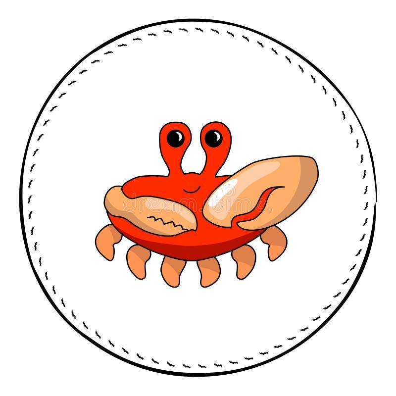 Röd krabba som isoleras på vit bakgrund Gullig krabbatecknad filmillustration royaltyfri illustrationer