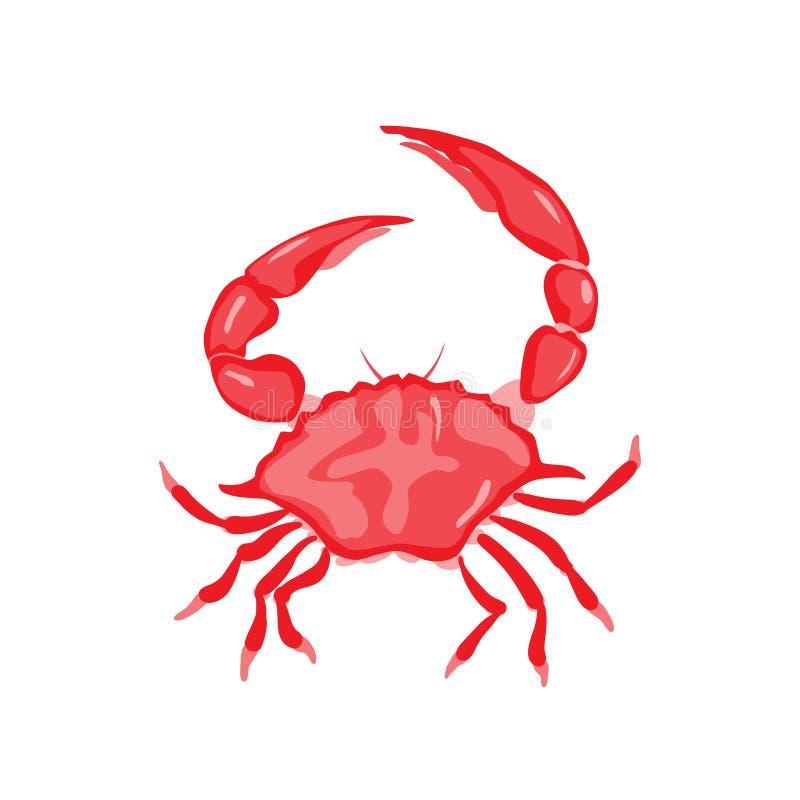 Röd krabbavektorillustration för objektbana för bakgrund clipping isolerad white r stock illustrationer