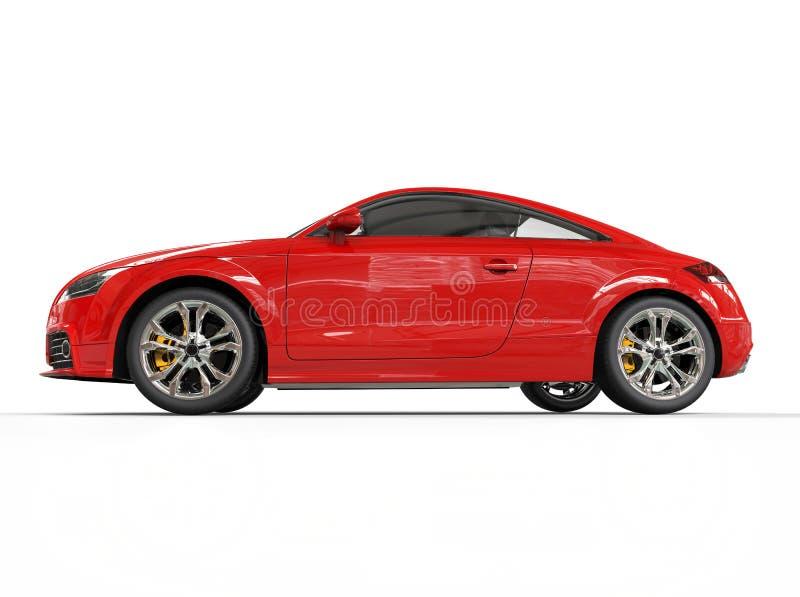 Röd kraftig bilsidosikt arkivfoto