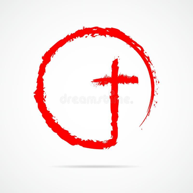 Röd kristenkorssymbol också vektor för coreldrawillustration stock illustrationer