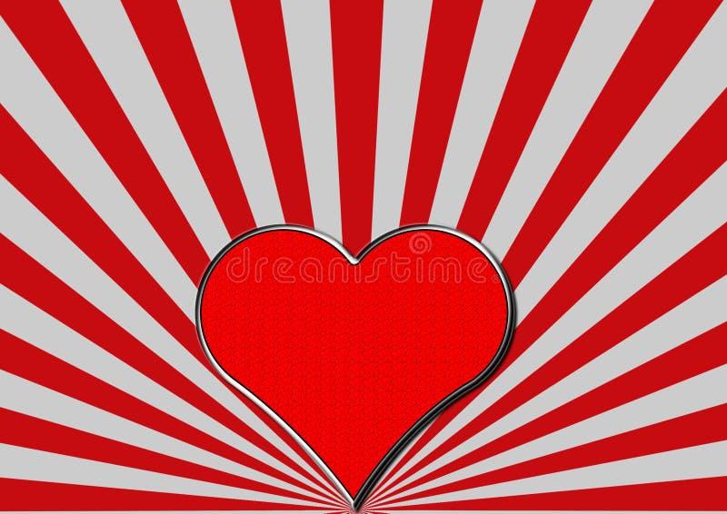 Röd kromhjärta på röd silverfan rays vektor illustrationer