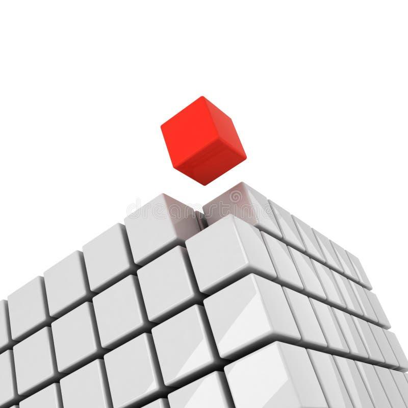 Röd kub som får avriven arkivfoto