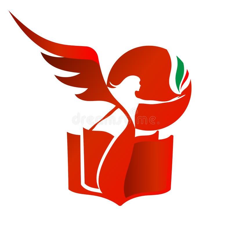 Röd kvinnlig kontur med en vinge på bakgrunden av boken och av den sol- skivan royaltyfria bilder