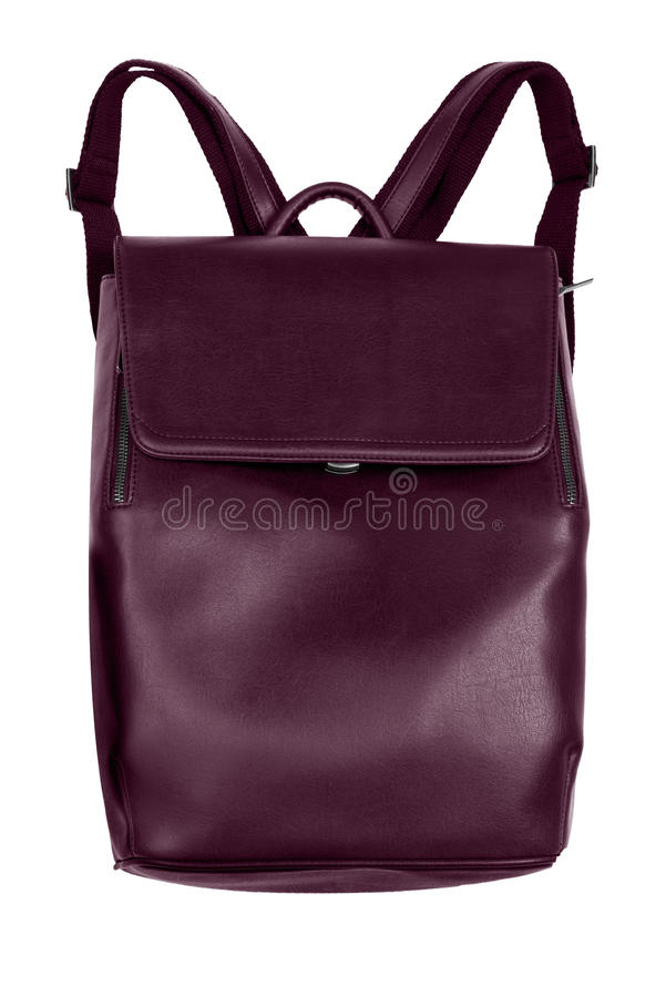 Röd läderryggsäck för elegant bordeaux som isoleras på den vita backgrouen arkivfoton