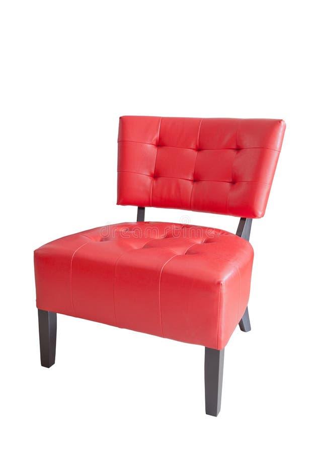 Röd läderstol som isoleras på vit bakgrund royaltyfria foton