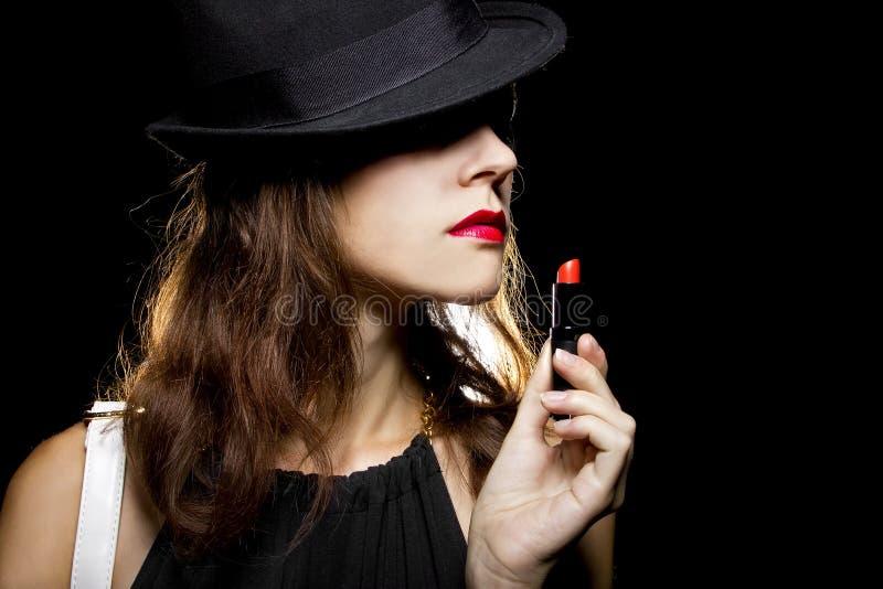 Röd läppstift fotografering för bildbyråer
