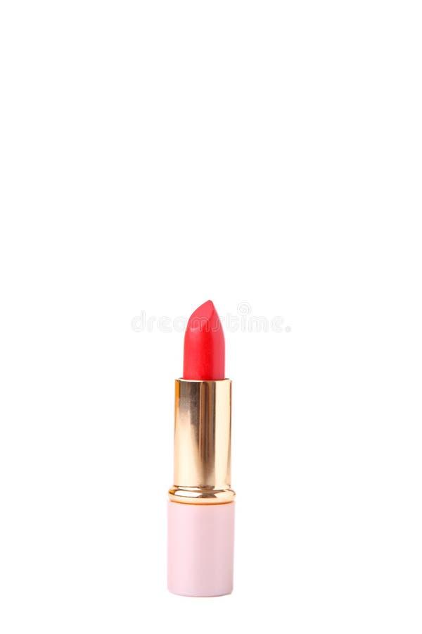 Röd läppstift som isoleras på vit bakgrund makeup arkivfoto