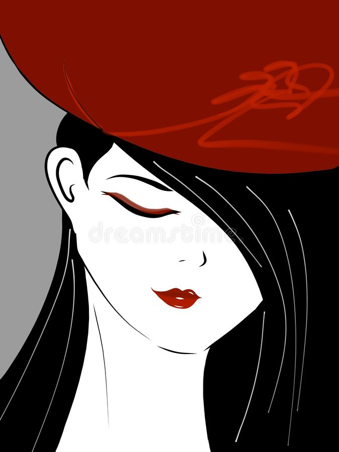 Röd läppstift & svart hår royaltyfri illustrationer