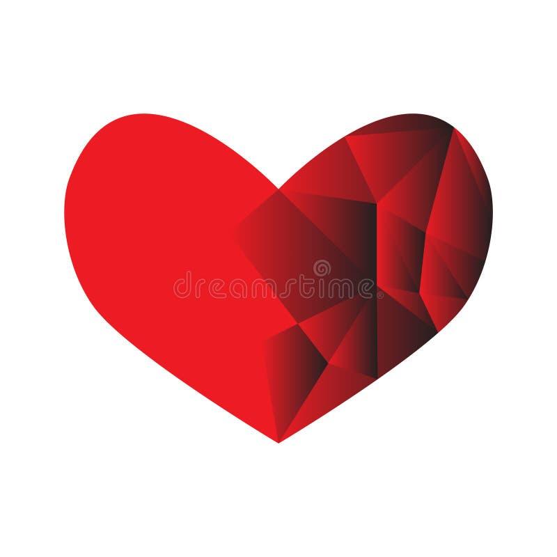 Röd låg poly hjärta vektor illustrationer