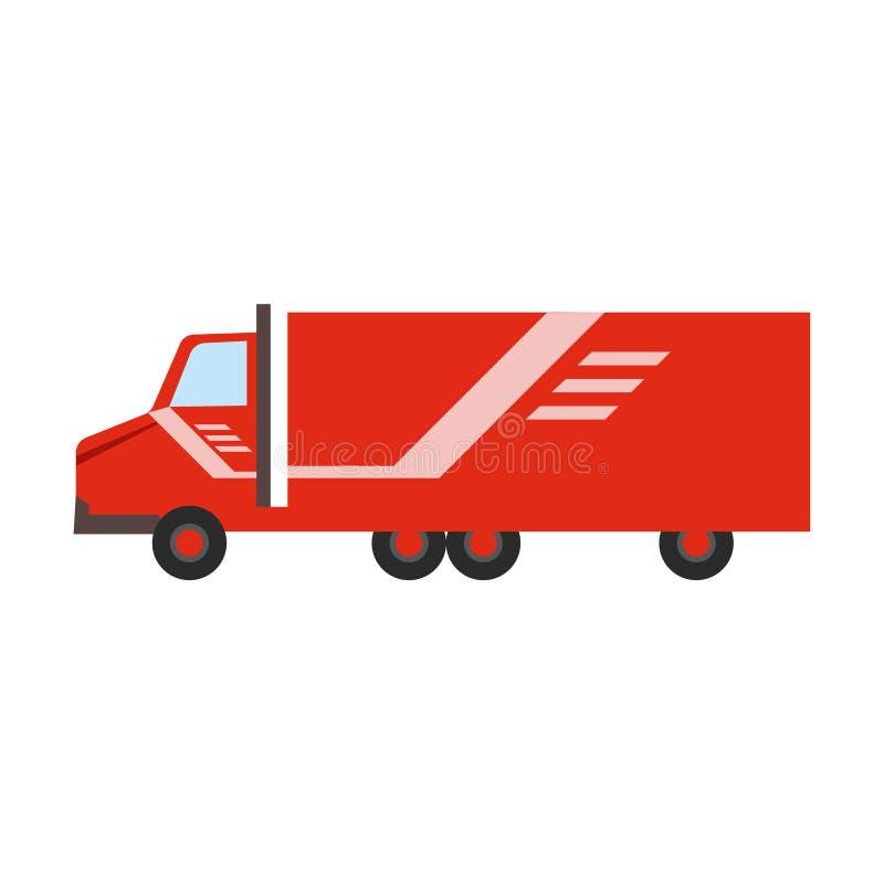 Röd långdistans- lastbil för hemsändningföretag som levererar sändningen royaltyfri illustrationer