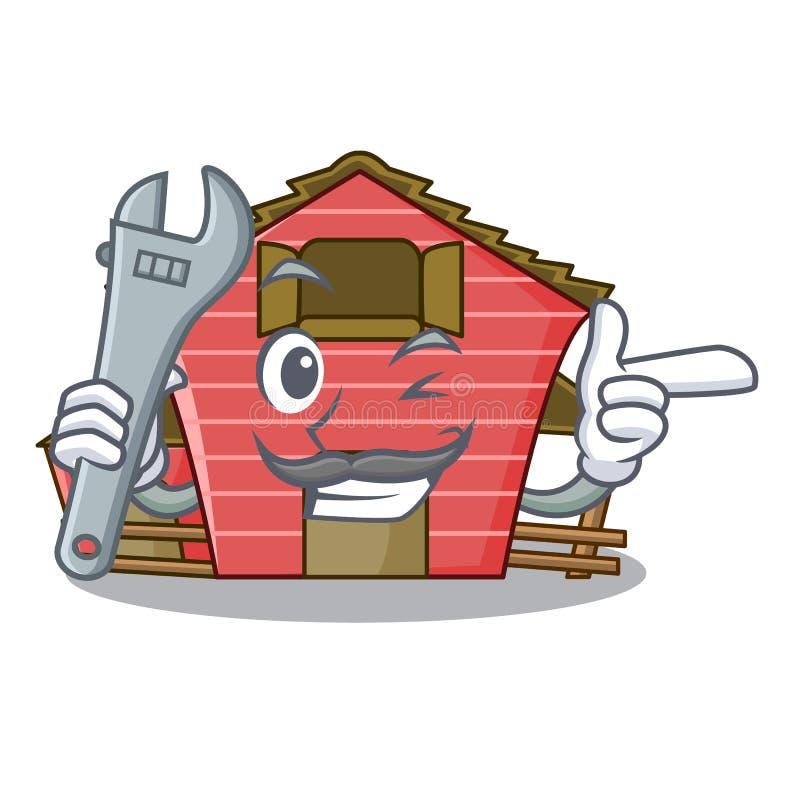 Röd lagringsladugård för mekaniker som isoleras på maskot royaltyfri illustrationer