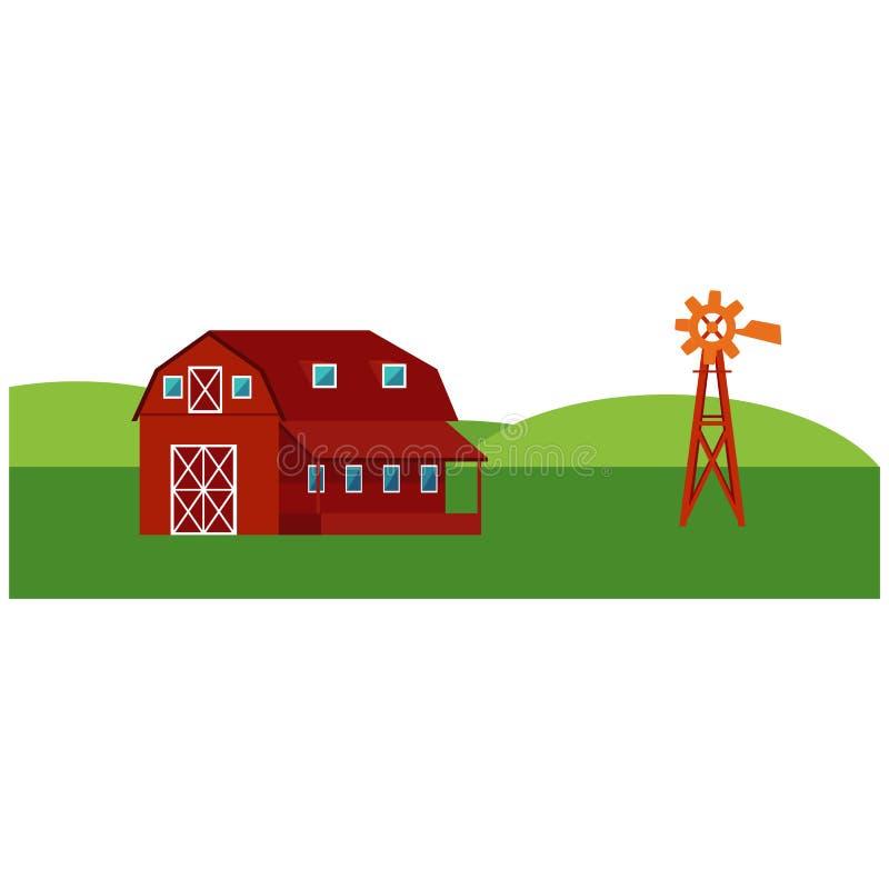 Röd lantgårdladugård med väderkvarnen - bygdlandskap med gröna kullar och fält royaltyfri illustrationer