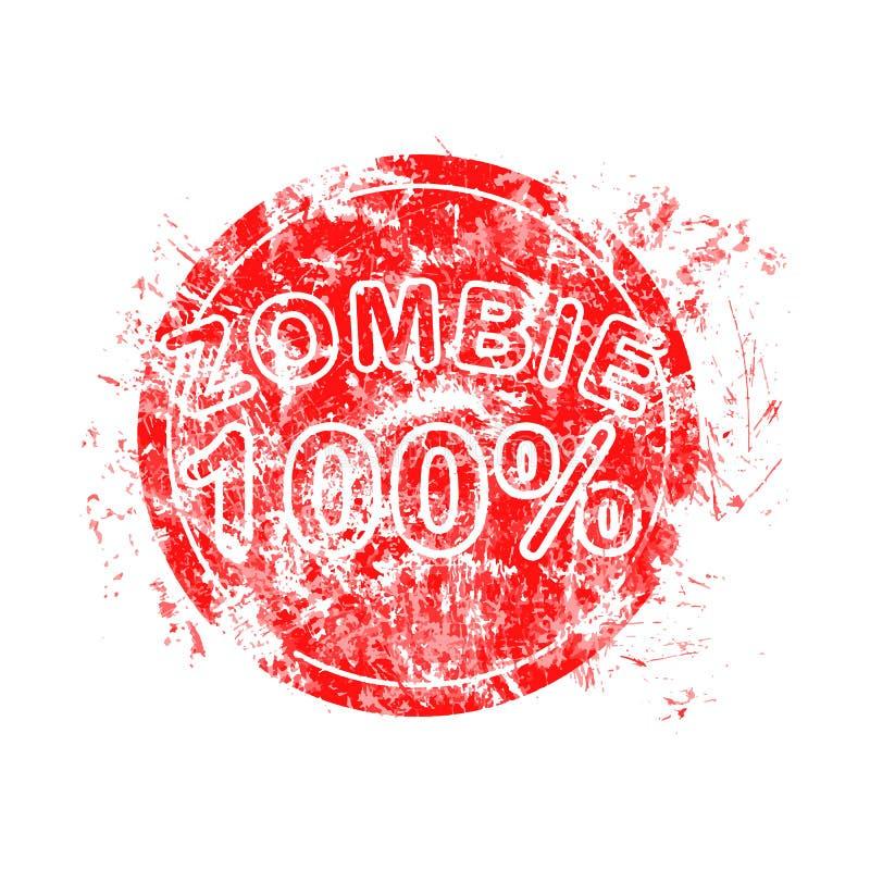Röd levande död för rubber stämpel för grungecirkel 100% som används för halloween ve vektor illustrationer