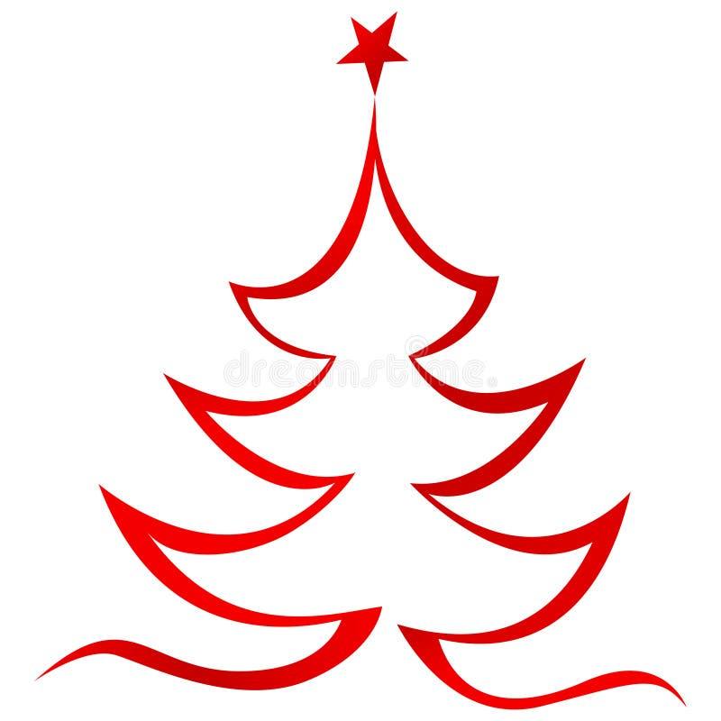 Röd lineart för julträd stock illustrationer