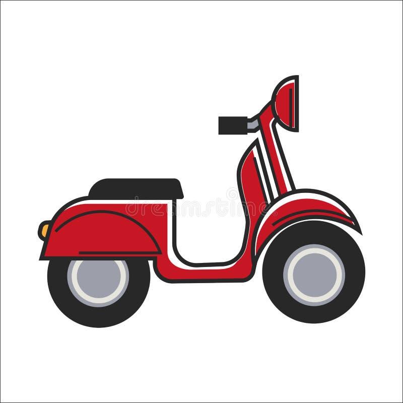Röd liten sparkcykel stock illustrationer