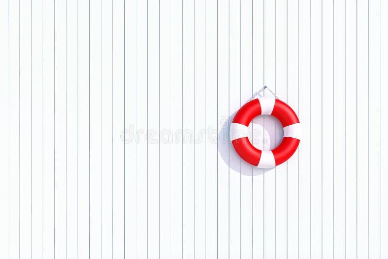 Röd livboj på en vit träplankavägg, sommarbegrepp, bakgrund stock illustrationer