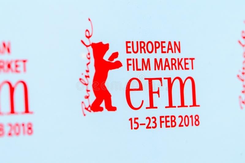 Röd logo av den europeiska filmmarknaden 2018 för EFM royaltyfri illustrationer
