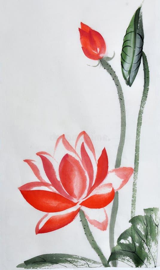Röd Lotus vattenfärgmålning royaltyfri illustrationer