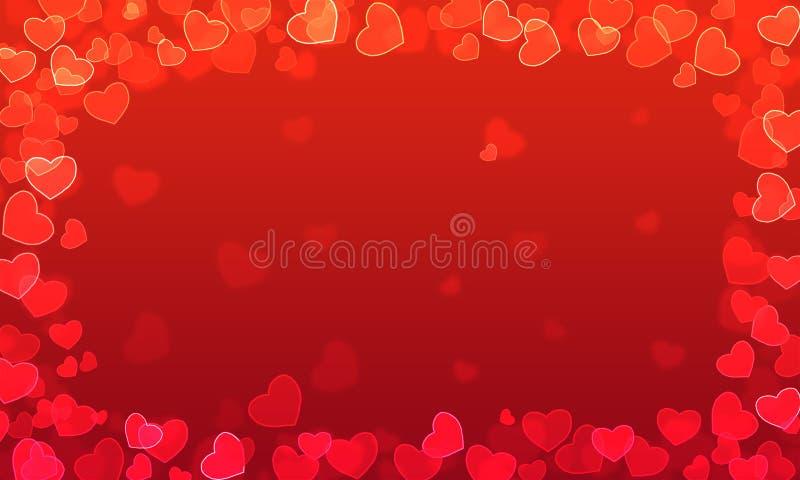 Röd lutningbakgrund med hjärtor med bokeheffekt vektor illustrationer