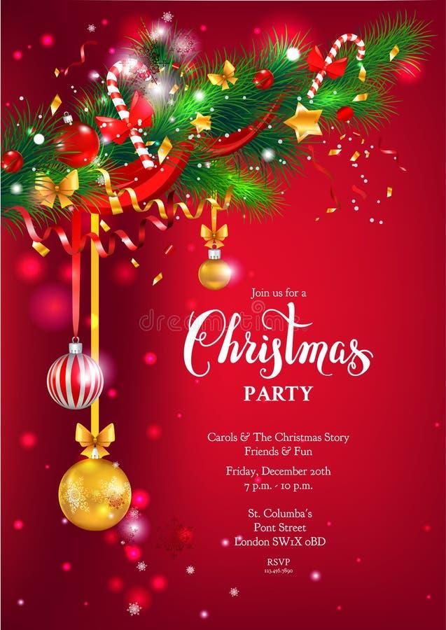 Röd lycklig julkort royaltyfri illustrationer