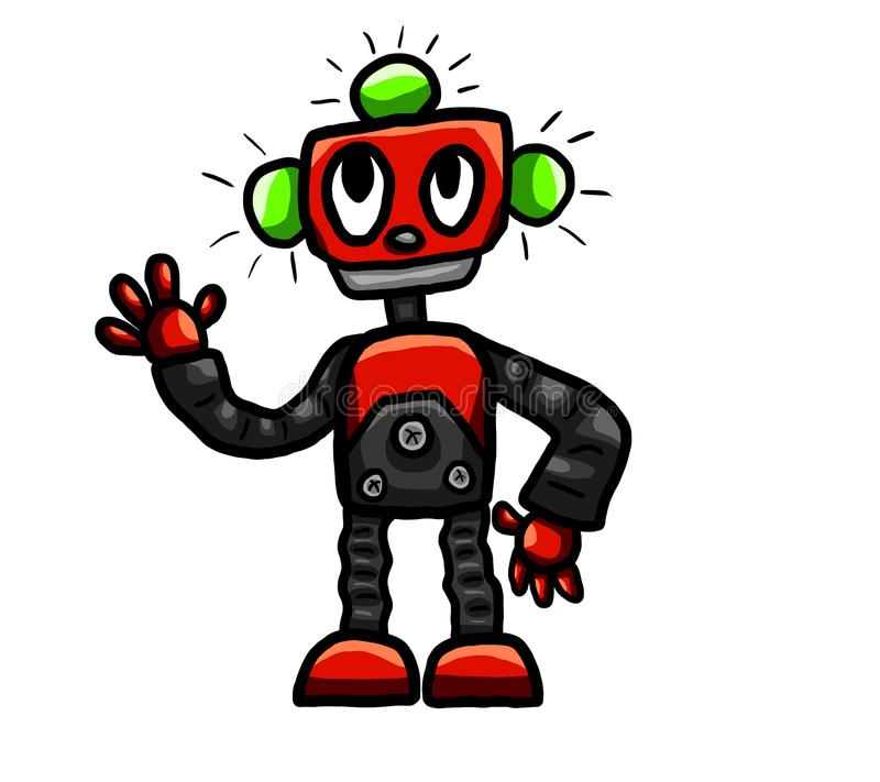 Röd lycklig robot stock illustrationer