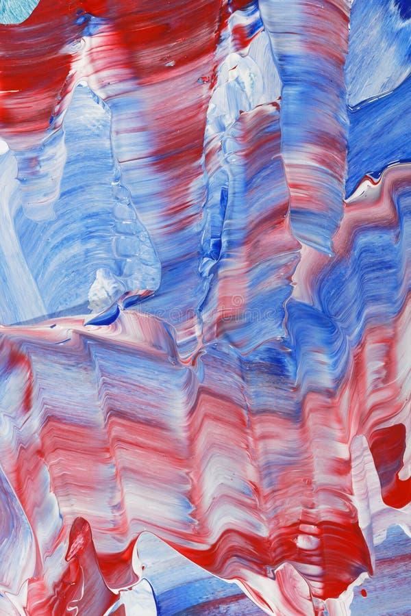 Röd målad bakgrund för blått hand fotografering för bildbyråer
