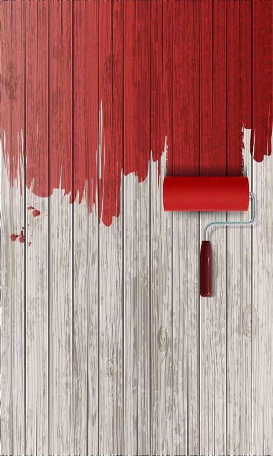 Röd målarfärg på träbakgrund stock illustrationer