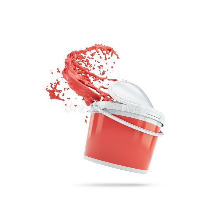 Röd målarfärg som plaskar ut ur plast-canen Över vit stock illustrationer